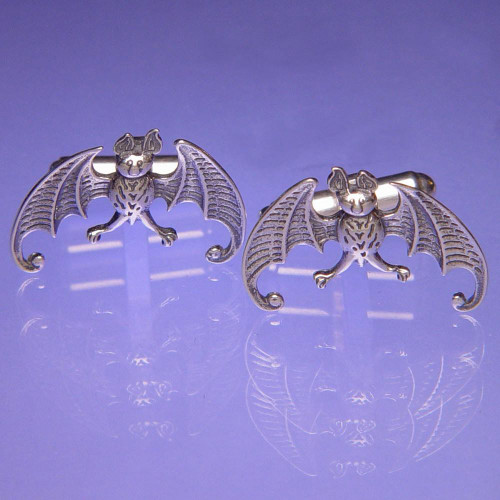 Bat Sterling Silver Cuff Links - Inspirational Jewelry Photo