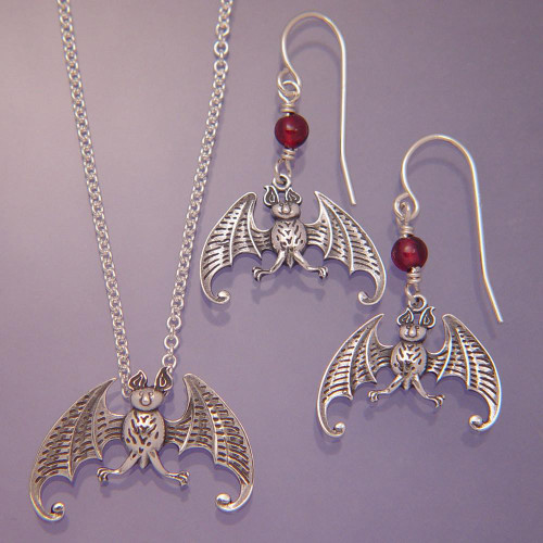 Bat Sterling Silver Earrings - Inspirational Jewelry Photo