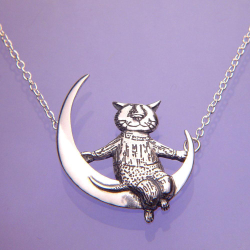 Moon Cat Sterling Silver Necklace - Inspirational Jewelry Photo