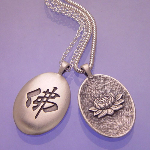 Buddha & Lotus Sterling Silver Necklace - Inspirational Jewelry Photo