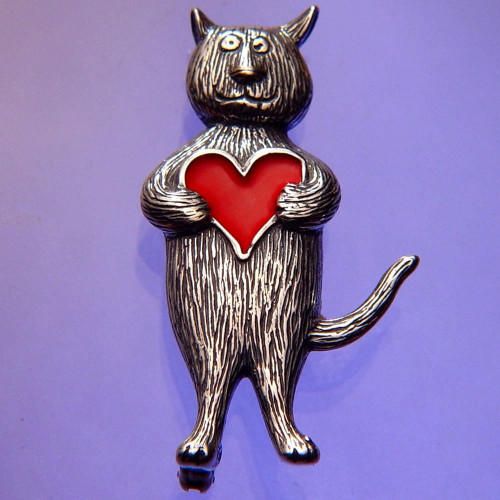 Heart Cat Sterling Silver Pin - Inspirational Jewelry Photo