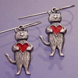 Heart Cat Sterling Silver Earrings - Inspirational Jewelry Photo