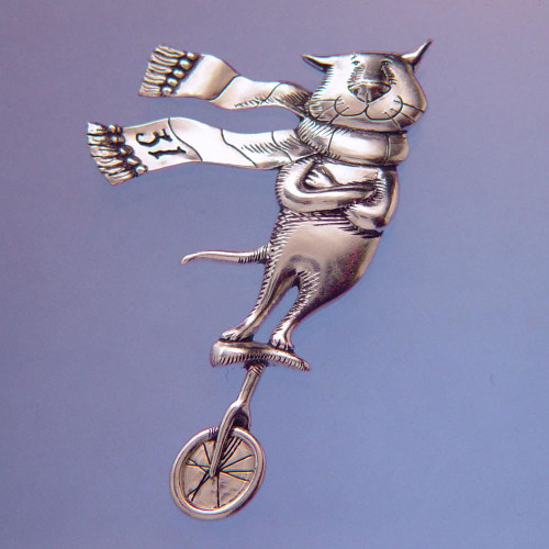 Cat On A Unicycle Sterling Silver Pin - Inspirational Jewelry Photo