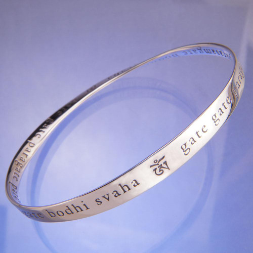 Heart Sutra Mantra Sterling Silver Bracelet - Inspirational Jewelry Photo