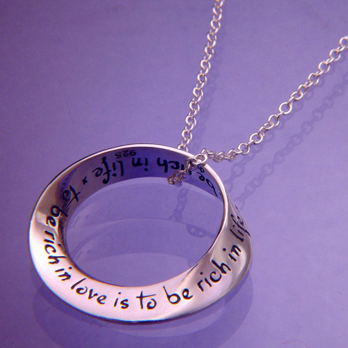 To Be Rich In Love Sterling Silver Necklace - Inspirational Jewelry Photo