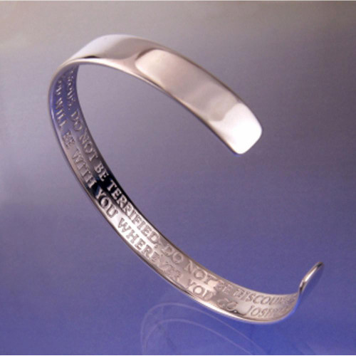 Strong & Courageous Sterling Silver Large Cuff - Inspirational Jewelry Photo