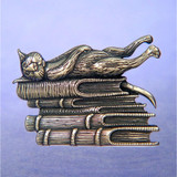 Book Cat Sterling Silver Pin - Inspirational Jewelry Photo