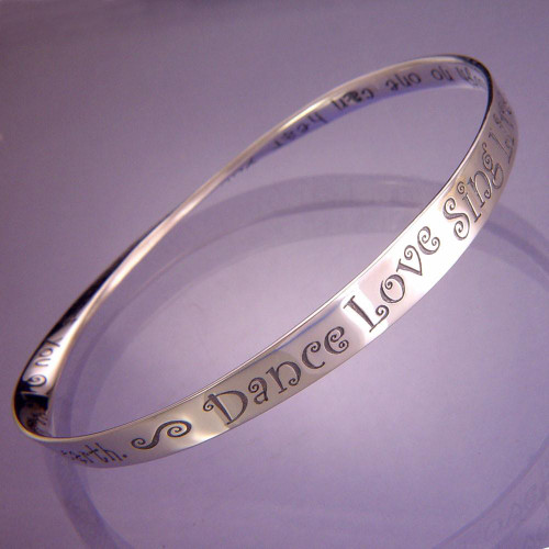 Dance! Love! Sing! Live! Sterling Silver Bracelet - Inspirational Jewelry Photo