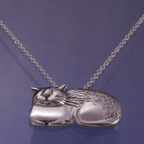 Cozy Cat Sterling Silver Necklace - Inspirational Jewelry Photo