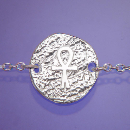 Ankh Symbol Sterling Silver Bracelet - Inspirational Jewelry Photo