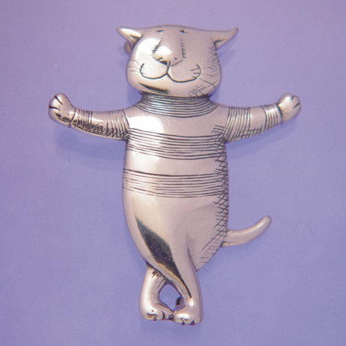 Cat About Town Sterling Silver Pin - Inspirational Jewelry Photo