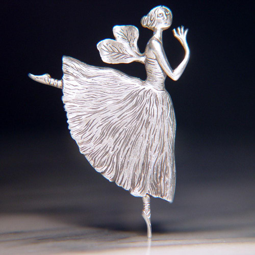 Winged Ballerina Sterling Silver Pin - Inspirational Jewelry Photo