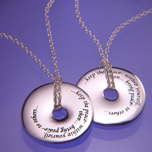 Keep The Peace Within Yourself Sterling Silver Necklace - Inspirational Jewelry Photo