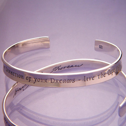 Live The Life You've Imagined Sterling Silver Cuff - Inspirational Jewelry Photo