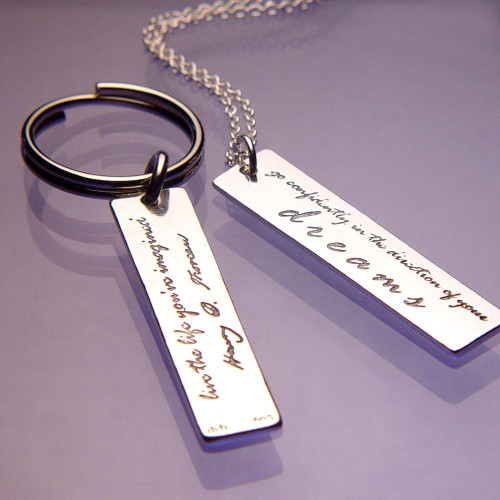 Live The Life You've Imagined Sterling Silver Key Chain - Inspirational Jewelry Photo