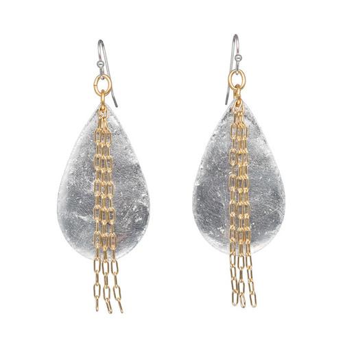 Delia in Chains Medium Teardrop Earrings - Silver - Museum Jewelry - Museum Company Photo