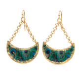 Feathered Peacock Crescent Earrings - Museum Jewelry - Museum Company Photo