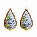 Shanghai Map Teardrop Earrings - Museum Jewelry - Museum Company Photo
