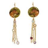 Raj Horse Disc Earrings w/ Semi-Precious Chain - Museum Jewelry - Museum Company Photo