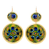 Feathered Peacock Double Disc Earrings - Museum Jewelry - Museum Company Photo