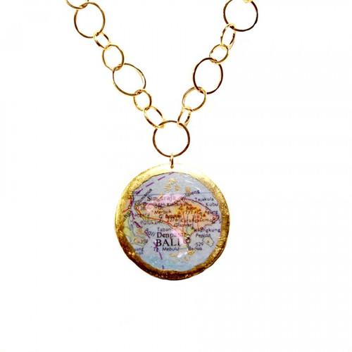 Bali/Honolulu Double-Sided Map Pendant - Museum Jewelry - Museum Company Photo