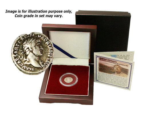 Genuine Antique Coin : Silver Denarius of the Roman Emperor Hadrian who Built Hadrian's Wall - Museum Store Company Photo