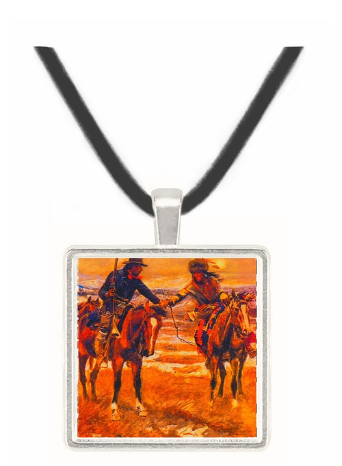 A Doubtful Handshake - Charles M. Russell -  Museum Exhibit Pendant - Museum Company Photo