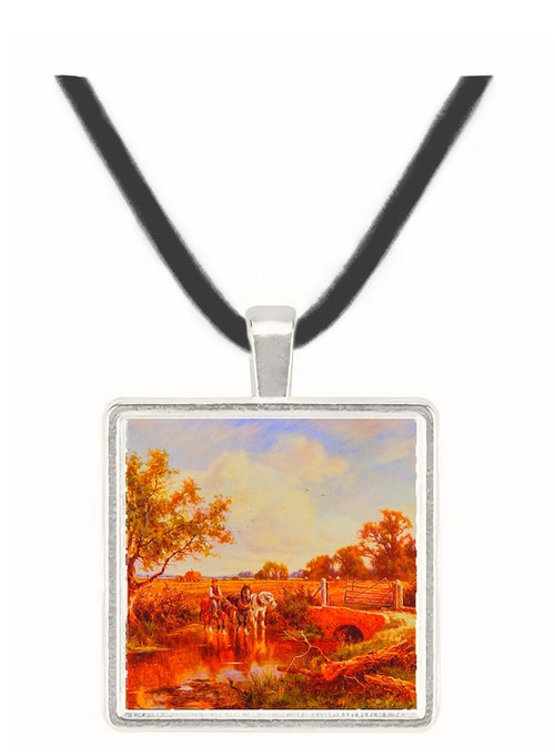 A Farm Boy Watering Horses at a Brook - Henry H. Parker -  Museum Exhibit Pendant - Museum Company Photo