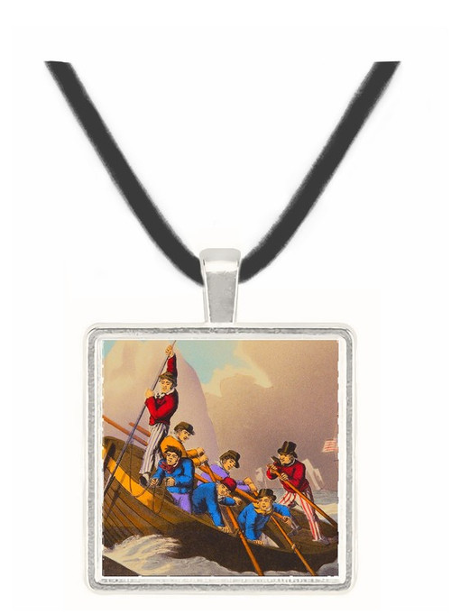 A Ships Boat Attacking a Whale - J. Maiden -  Museum Exhibit Pendant - Museum Company Photo
