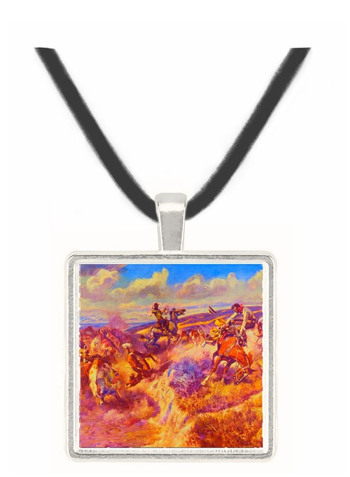A Tight Dally and a Loose Latigo - Charles M. Russell -  Museum Exhibit Pendant - Museum Company Photo