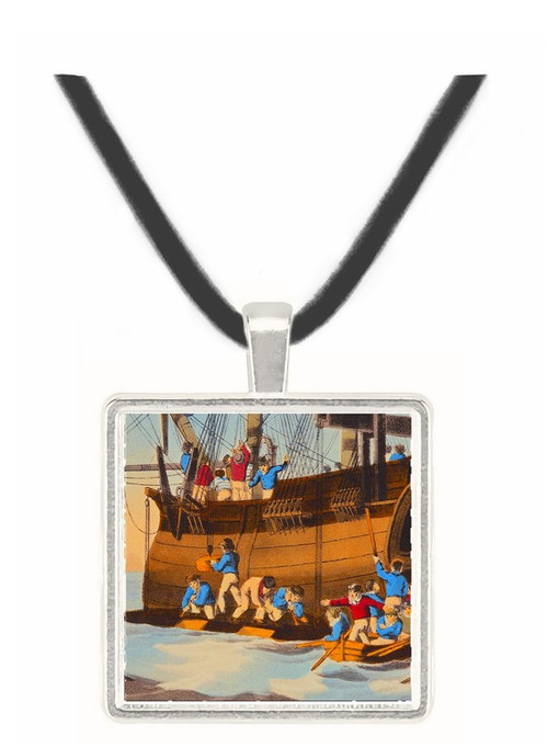 A Whale Brought alongside a Ship - J.H. Clark -  Museum Exhibit Pendant - Museum Company Photo