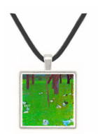 After the rain (garden with chickens in St. Agatha) by Klimt -  Museum Exhibit Pendant - Museum Company Photo