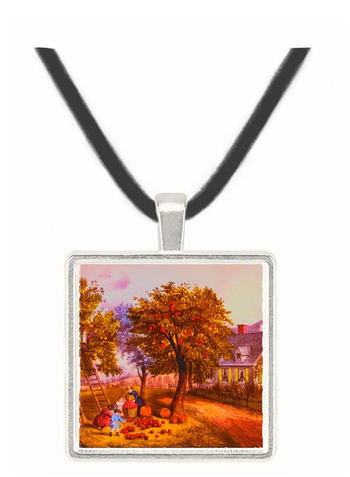 American Homestead Autumn - Currier and Ives -  Museum Exhibit Pendant - Museum Company Photo