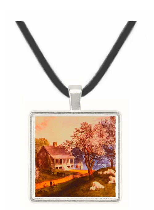 American Homestead Spring - Currier and Ives -  Museum Exhibit Pendant - Museum Company Photo