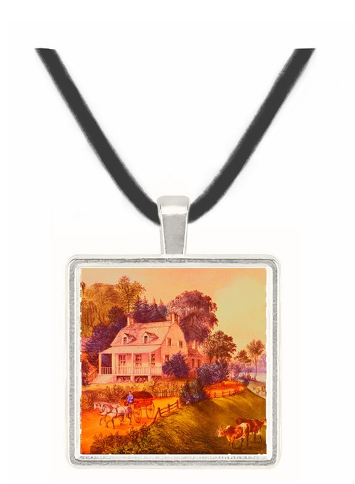 American Homestead Summer - Currier and Ives -  Museum Exhibit Pendant - Museum Company Photo