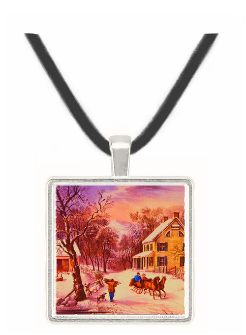 American Homestead Winter - Currier and Ives -  Museum Exhibit Pendant - Museum Company Photo