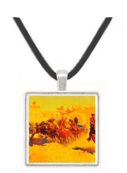 Attack on the Supply Wagon - Frederic Remington -  Museum Exhibit Pendant - Museum Company Photo
