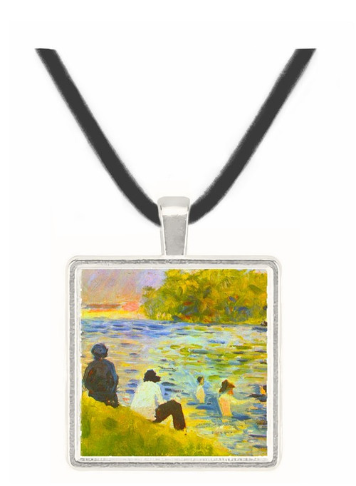 Bathing with a white horse in the river by Seurat -  Museum Exhibit Pendant - Museum Company Photo