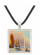 Boats Approaching a Whale - J.H. Clark -  Museum Exhibit Pendant - Museum Company Photo