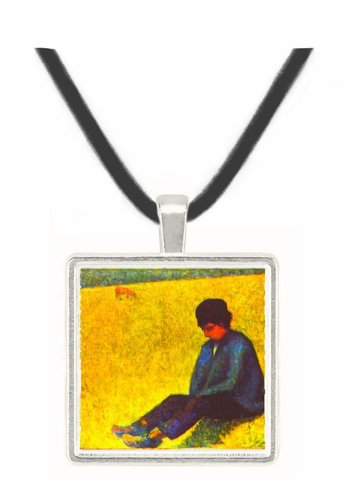 Boy sitting on a lawn by Seurat -  Museum Exhibit Pendant - Museum Company Photo