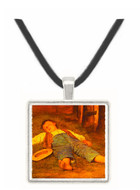 Boy Sleeping in the Hay - Albert Anker -  Museum Exhibit Pendant - Museum Company Photo