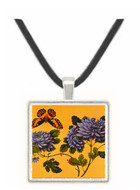 Butterfly and Dahlias - unknown artist -  Museum Exhibit Pendant - Museum Company Photo