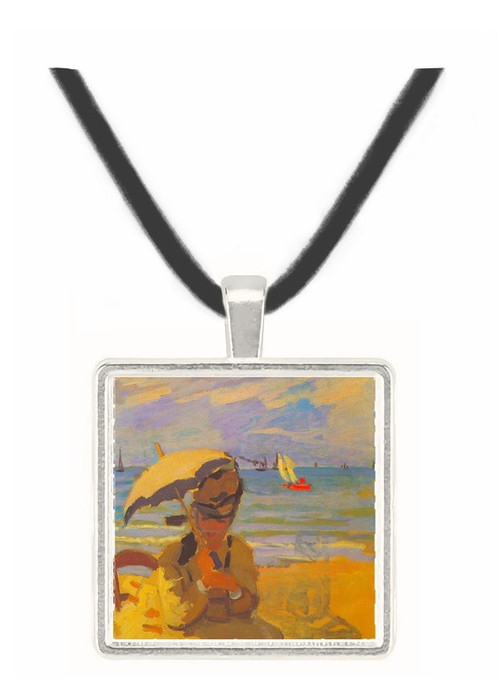 Camille Monet on the beach at Trouville by Monet -  Museum Exhibit Pendant - Museum Company Photo