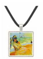 Camille on the beach at Trouville by Monet -  Museum Exhibit Pendant - Museum Company Photo