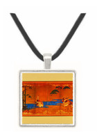 Cranes Near a River on Golden Background - unknown artist -  Museum Exhibit Pendant - Museum Company Photo