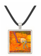 Farmer with hoe by Seurat -  Museum Exhibit Pendant - Museum Company Photo