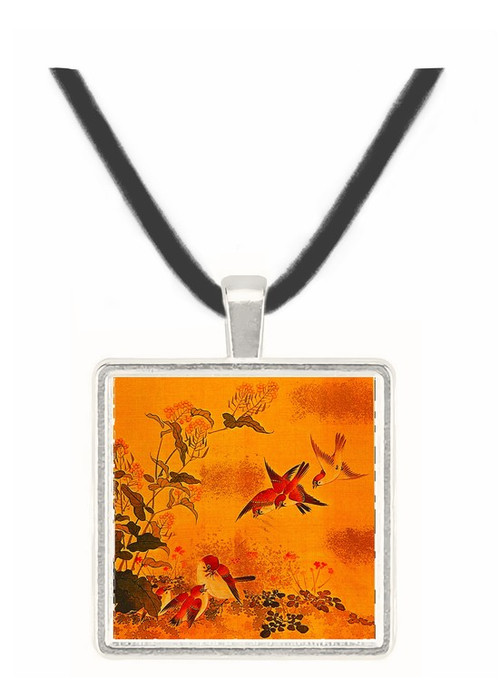 Flowers and Sparrows - unknown artist -  Museum Exhibit Pendant - Museum Company Photo