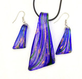 Moderna Italian Murano Styled Art Glass Pendant and Earrning Set IVE  - Photo Museum Store Company