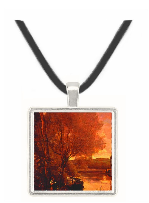 Girl Reading by the Waterside - Jean Baptiste Camille Corot -  Museum Exhibit Pendant - Museum Company Photo