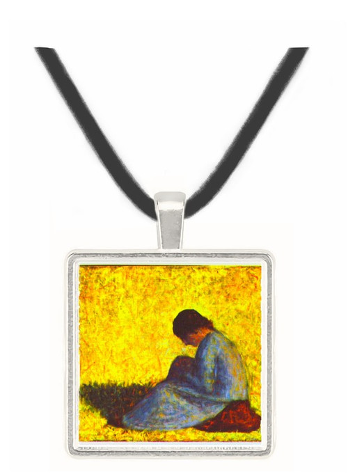 Girl seated on the lawn by Seurat -  Museum Exhibit Pendant - Museum Company Photo